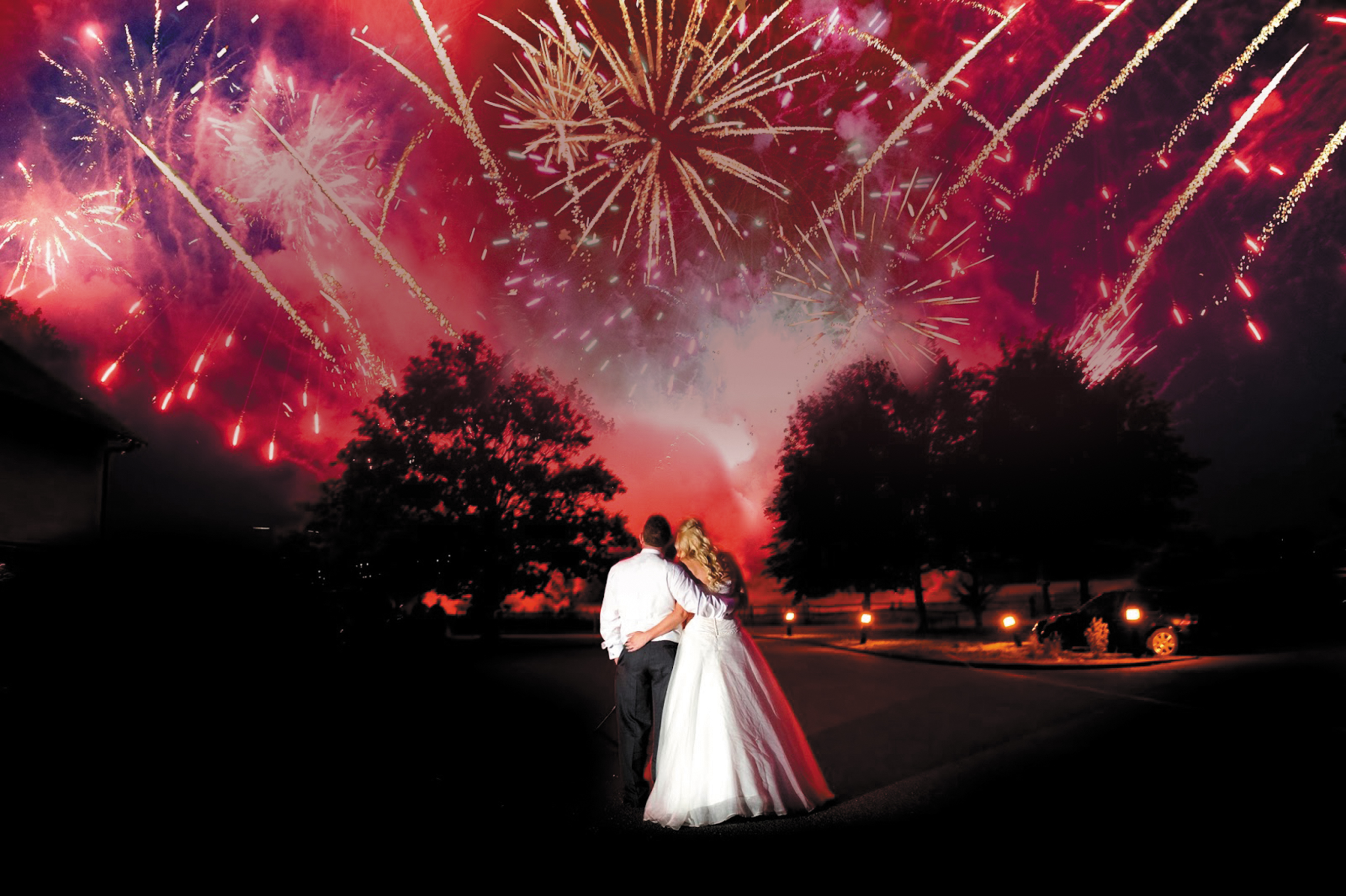 Салют на свадьбе - фото фаер-шоу, красивый фейерверк 66